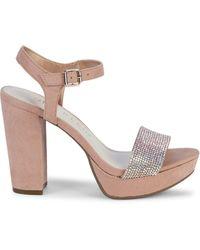 Anne Klein Akleo Faux Suede & Crystal Platform Sandals - Multicolour