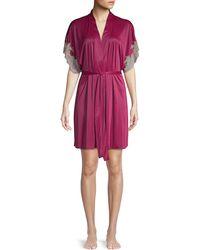 Natori Mulberry Purple Enchant Lace-trim Wrap Robe