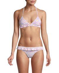 LoveShackFancy Floral-print Halter Bikini Top - Multicolour
