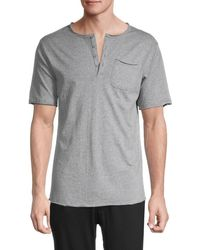 Unsimply Stitched Short-sleeve Cotton Henley - Grey