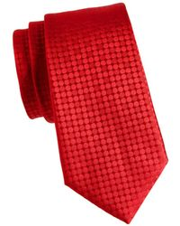 Canali Men's Tonal Dot Silk Tie - Red