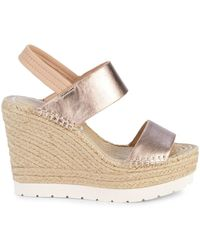Kenneth Cole Women's Owen Metallic Leather Espadrille Wedge Slingback Sandals - Light Copper - Size 10