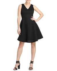 Donna Karan Textured Fit-&-flare Dress - Black