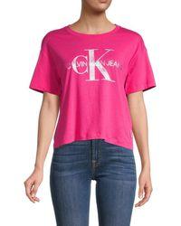 Calvin Klein Women's Short Graphite Logo T-shirt - Electric Pink - Size L