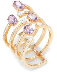 Hueb Women's Spectrum 18k Rose Gold, Pink Sapphire & Diamond Midi Ring/size 7.5 - Size 7.5