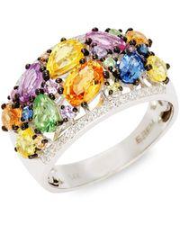 Effy 14k White Gold Multi-color Sapphire & Diamond Cluster Ring - Multicolor