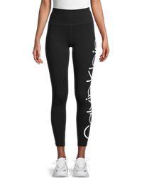 Calvin Klein Women's Logo Ankle-length Leggings - White Multi - Size L - Black