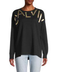 Calvin Klein Women's Graphic Cotton Jumper - Black - Size Xl