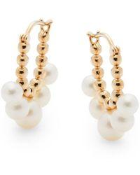 Saks Fifth Avenue 14k Yellow Gold & 4-6.5mm Freshwater Pearl Hoop Earrings - Metallic