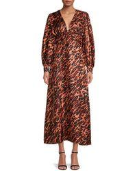 Sandro Faunie Silk A-line Midi Dress - Multicolour
