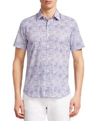 Saks Fifth Avenue Modern Splatter-print Short-sleeve Sport Shirt - Blue