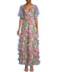 All Things Mochi Women's Ruffled Botanical-print Cotton Dress - Pink - Size Xs