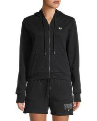 True Religion Women's Logo Hooded Jacket - Black - Size Xl