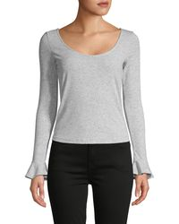 Cupcakes And Cashmere Micro-dot Bell-sleeve Top - Grey