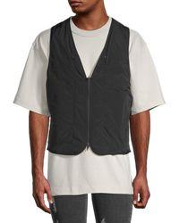 Yohji Yamamoto Padded Zip-up Vest - Black