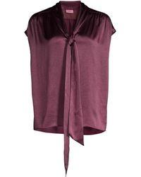 Kate Spade Women's Satin Tieneck Blouse - Candied Fig - Size M - Purple
