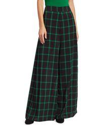 Alice + Olivia Women's Athena Windowpane Check Wide-leg Trousers - Black Green Plaid - Size 0