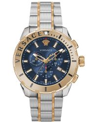 Versace Men's Two-tone Stainless Steel Chronograph Bracelet Watch - Blue