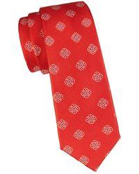 Canali Men's Floral Medallion Silk Tie - Orange