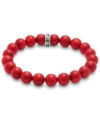 King Baby Studio Men's Sterling Silver Beaded Bracelet - Red