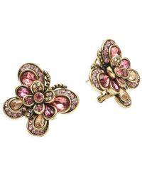 Heidi Daus Rhinestone Butterfly Stud Earrings - Multicolor