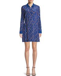 L'Agence Estelle Chain Print Long Sleeve Silk Shirtdress - Black