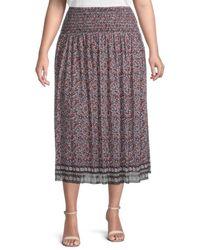 Max Studio Women's Plus Ditsy-print Midi Skirt - Size 2x (18-20) - Multicolor