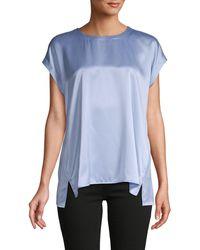 Eileen Fisher Cap-sleeve Silk Top - Blue