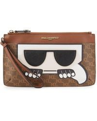 Karl Lagerfeld Embossed Graphic Faux Leather Wristlet - Brown