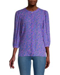 Tanya Taylor Printed Silk Button-front Top - Purple