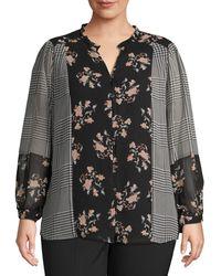 Calvin Klein Plus Mixed Print Long-sleeve Top - Black