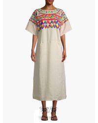 All Things Mochi Printed Midi Dress - Grey