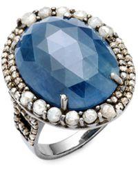 Bavna - Champagne Diamond, Blue Sapphire & Sterling Silver Ring - Lyst