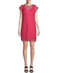 Nanette Nanette Lepore - Floral-embroidered Mesh Shift Dress - Lyst