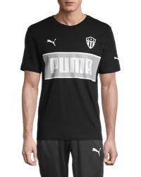 PUMA Men's Stripe Badge Logo Graphic T-shirt - Black - Size L