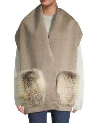Gorski Fox Fur & Wool Stole - Multicolour
