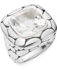 John Hardy - Kali White Topaz & Sterling Silver Large Lava Square Ring - Lyst