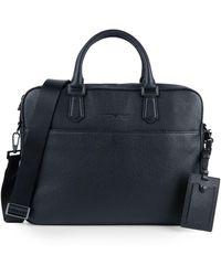 Emporio Armani Pebbled Leather Briefcase - Black