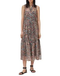 Equipment Allix Printed Silk Sleeveless Dress - Brown