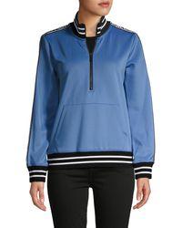 Karl Lagerfeld Logo Tape Half-zip Pullover - Blue