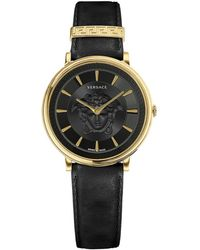 Versace V-circle Medusa Ip Gold Stainless Steel Leather-strap Watch - Metallic