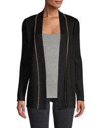 Calvin Klein Contrast-trim Ribbed Cardigan - Black