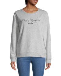 Karl Lagerfeld Script Cotton-blend Sweatshirt - Grey