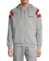 Bally Men's Varsity Zip-up Hoodie - Gray - Size M