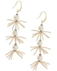 Saachi - Layered Freshwater Pearl & Crystal Tarameen Earrings - Lyst