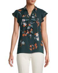 Calvin Klein Women's Floral Ruffle Button-down Top - Malachite - Size Xs - Blue