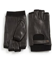 John Varvatos - Fingerless Deerskin & Wool Driving Gloves - Lyst