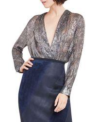 Elie Tahari - Shelly Metallic Bodysuit - Lyst
