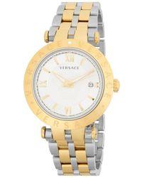 Versace Men's V-race Silver Dial Mens Two Tone Watch Vcl110017 - Metallic