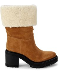 Marc Fisher Women's Shearling-trim Suede Boots - Natural Suede - Size 9.5 - Brown